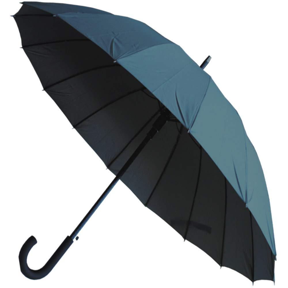 COLLAR AND CUFFS LONDON - 16 Baleines TRÈS Robuste 95KPH - Cadre Triple Couche, Renforcé avec Fibre de Verre - Parapluie Canne -Ouverture Automatique - Gris Renforcé avec Fibre de Verre - Parapluie Canne -Ouverture Automatique - Gris