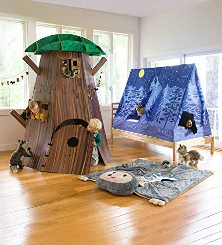 Big Tree Fort Building Kit for Kids - Heavy Duty Cardboard Construction - Indoor Playroom or Classroom - Play Space for Multiple Children - Approx. 7 H x 58 diam. by HearthSong® (Image #5)