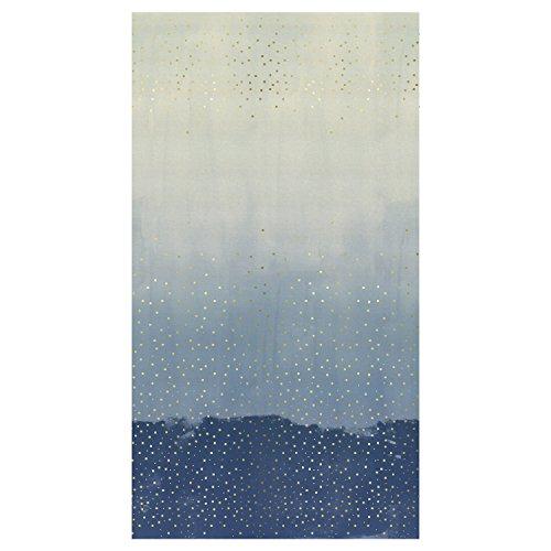 Border Cotton Fabric (Cotton + Steel Jubilee Metallic Confetti Double Border Blue Fabric By The Yard)