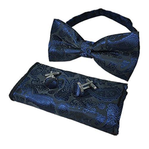 Men Navy Blue Black Woven Bow Tie Handkerchief Neckwear Bowtie Paisley Patterned ()
