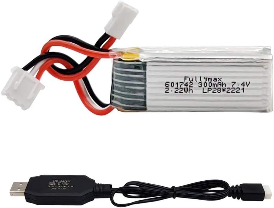 Gecoty® Batería Li-po de 7.4V 300mAh 25C, batería recargable con cable de carga USB para WLtoys F959 XK A600 A700 A800 A430 Aviones RC