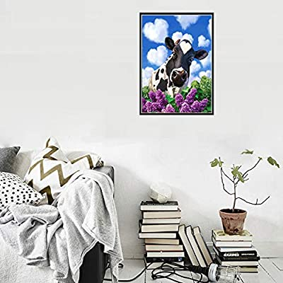 DIY 5D Diamond Painting Kit, Painting Cross Stitch Full Drill Crystal Rhinestone Embroidery Pictures Arts Craft Canvas for Home Wall Decoration Gift, Cat, Cow, Parrot, Wolf