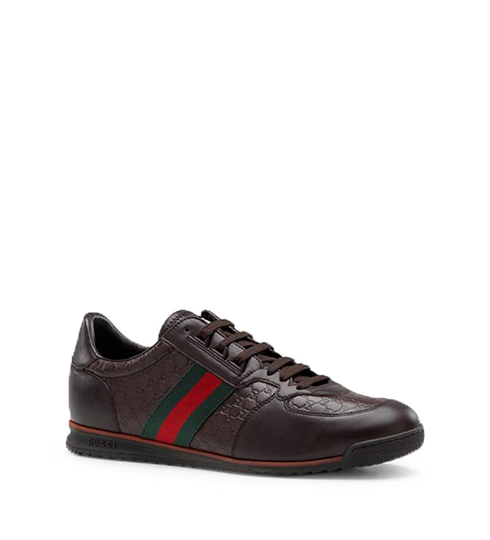 43b5fdb17676 Dark Brown Microguccissma leather with blue leather trim. Green/red/green  signature web detail. Rubber sole with Gucci signature embossed on the  side; ...