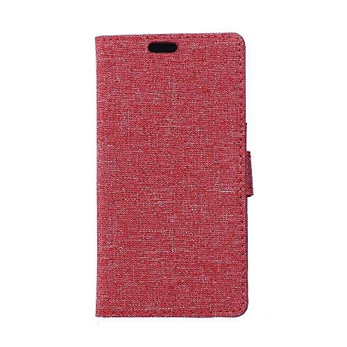 LG K10 Hülle,LG K10 Tasche,LG K10 Schutzhülle,LG K10 Hülle Case,LG K10 Leder Cover,Cozy hut [Burlap - Muster-Mappen-Kasten] echten Premium Leinwand Flip Folio Denim Abdeckungs-Fall, Slim Case mit Ständer Funktion und Identifikation-Kreditkarte Slots für LG K10 (5,3 Zoll) - Rote