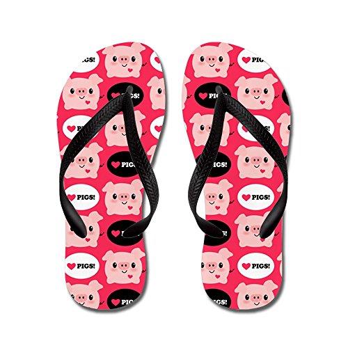 c9e3c2dc54977 CafePress - Kawaii I Love Pigs - Flip Flops