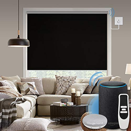 Graywind Motorized 100% Blackout Roller Shade with Alexa Google Smart Home Control Build-in Hardwired Window Shades Thermal Insulated Window Blinds, Customized Size (Black)