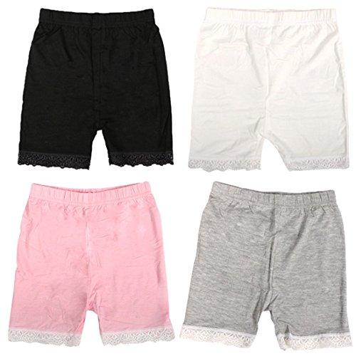 MyKazoe Girls Bike Shorts With Lace Trim (6, Basics (Black, White, Grey, Pink))