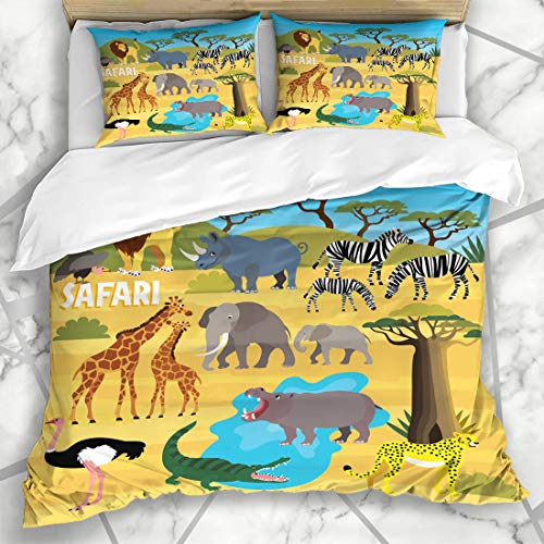 Ahawoso Duvet Cover Sets Queen/Full 90x90 Maple Travel Africa Madagascar Rhino Baobab Safari Animal Pyramid Set Abstract Rhinoceros Textures Soft Microfiber Decorative Bedroom with 2 Pillow Shams