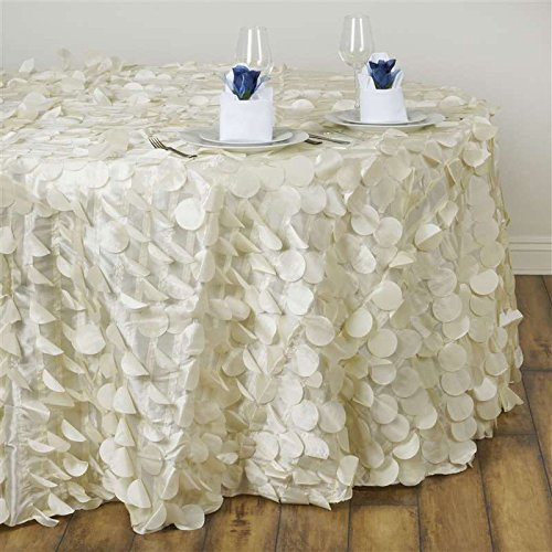 Ivory Round Raised Petals on Taffeta Tablecloth Table Cover Linens for Wedding Party Kitchen Dining Events ()