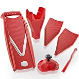 Borner V5 Plus Set straight from the manufacturer. Includes V5 Powerline Slicer,slicer Insert, 3,5mm and 7mm Blade Inserts,food Safety Holder,storage Box and Borner Combi-peeler (red)