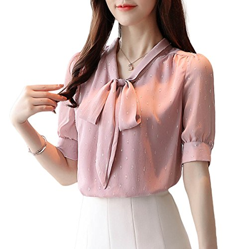 Women's Bow Tie Neck Shirts Ruffle Short Sleeve Casual Work Chiffon Blouse (XL, Pink Style 1) -
