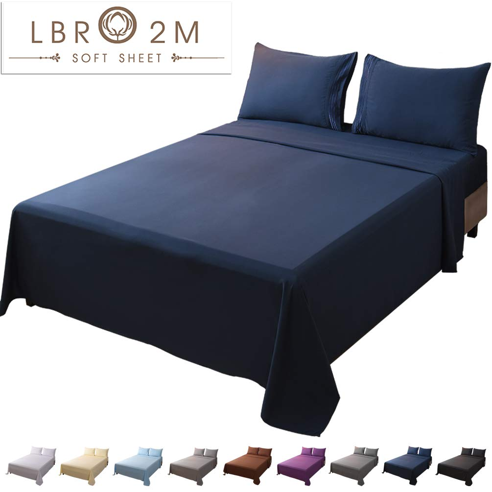 LBRO2M Bed Sheet Set King Size 16 Inches Deep Pocket 1800 Thread Count 100% Microfiber Sheet,Bedding Super Soft Hypoallergenic Breathable,Resistant Fade Wrinkle Cool Warm,4 Piece (Navy Blue)