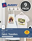 Avery T-shirt Transfers for Inkjet Printers, light-colored, 8.5 x 11'', Pack of 9 (8938)