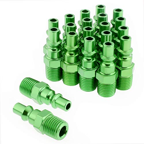 WYNNsky Color Air Fittings, Air Fittings with 1/4''NPT Male Threads, A Style-Green, 20 Pieces Air Compressor Accessories Fittings