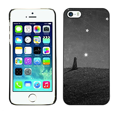 Soft Silicone Rubber Case Hard Cover Protective Accessory Compatible with Apple iPhone? 5 & 5S - cat painting stars wonder grey gray