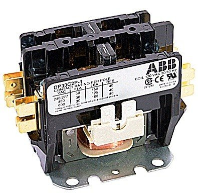 ABB, DP30C2P-1, 2 Pole, 30 Amps, 120VAC Coil, Definite Purpose Contactor