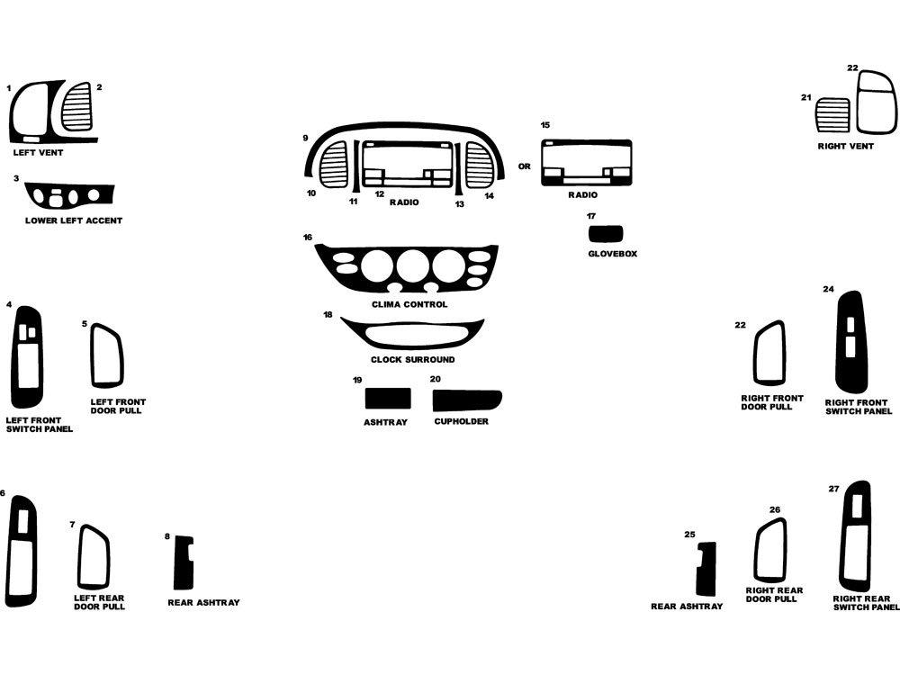 Rdash Dash Kit Decal Trim for Toyota Tundra 2005-2006 - Wood Grain (Burlwood Honey) Rvinyl