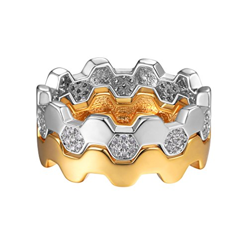 Suplight Honeycomb Ring Set For Women/Girls Gold/Platinum Plated Ring/Geometric Ring Wedding/Engagement Ring Set, Size 6