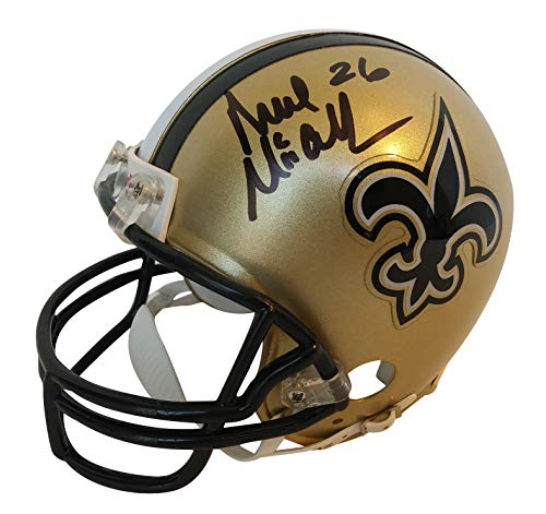 New Orleans Saints Deuce McAllister Signed Hand Autographed Riddell Mini Football Helmet with Proof Photo of Signing and COA- Ole Miss Rebels