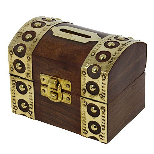 Safe Money Box Wooden Piggy Bank Treasure Chest For Boys Girls & Adults (Boys Treasure Chest)