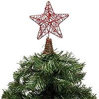 Kikajoy Yılbaşı Çam Ağacı Tepe Yıldızı Kırmızı Simli