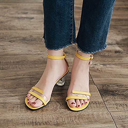 Women Sandals Yellow JULY Ankle Toe Crystal T for Elegant Clear Heeled Shoes Open Buckle Pumps Dress Stylish Slides Party UYwUqI