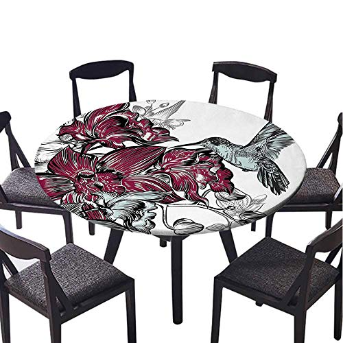 Agra Ivory Green - SATVSHOP Round tablecloth-40 Round-Suitable for All Occasions,Orchid Flowers Bouquet and Artistic Dign Artwork Magenta Agro Green.(Elastic Edge)