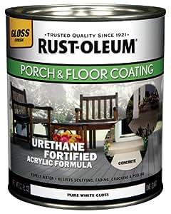Rust-Oleum 244854 Porch Floor Paint, Pure White Gloss, 1-Quart