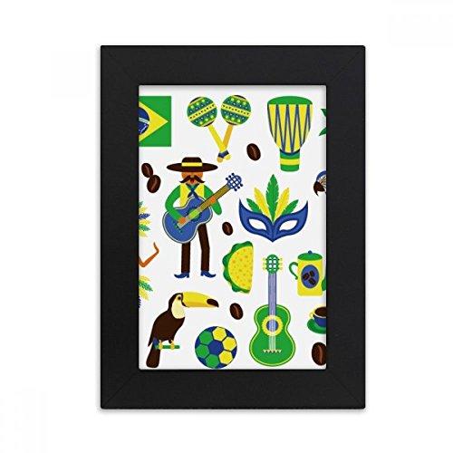 DIYthinker Soccer Parrot Guitar Coffee Brazil Desktop Photo Frame Picture Black Art Painting 5x7 inch by DIYthinker