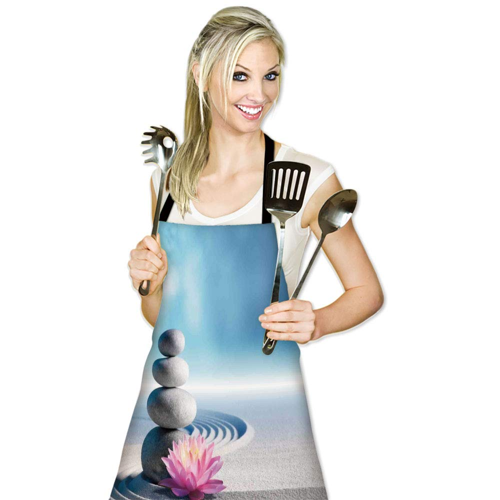 iPrint Personality Apron,Spa Decor,Stones and Lotus Flower Over Sand Meditation Harmony Balance Flourish Your Spirit Theme,Grey Blue Pink,Picture Printed Apron.29.5''x26.3'' by iPrint (Image #2)
