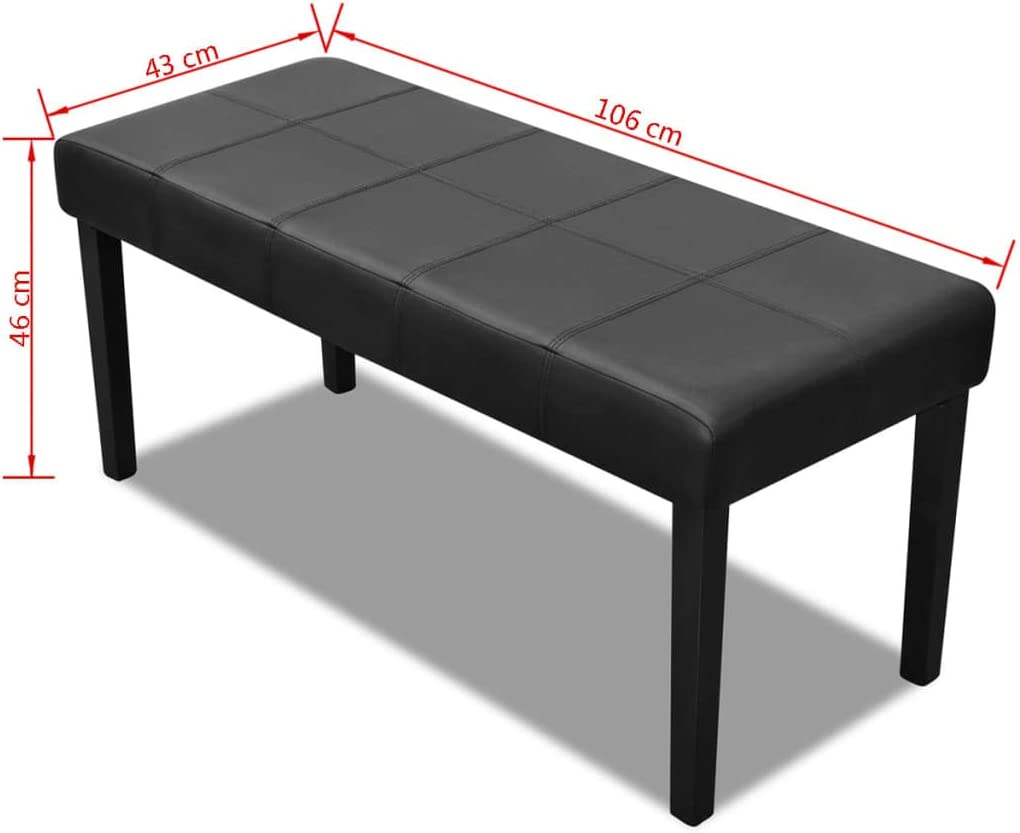 vidaXL Banc Simili Cuir Haute Qualit/é Noir Banquette Meuble Mobilier Pouf