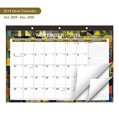 MONYES Desk Calendar October 2019 - December 2020, 16.8