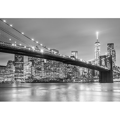 wall26 - Brooklyn Bridge and New York City Manhattan Downtown Skyline at Dusk with Skyscrapers - Removable Wall Mural | Self-Adhesive Large Wallpaper - 100x144 inches by wall26 (Image #1)