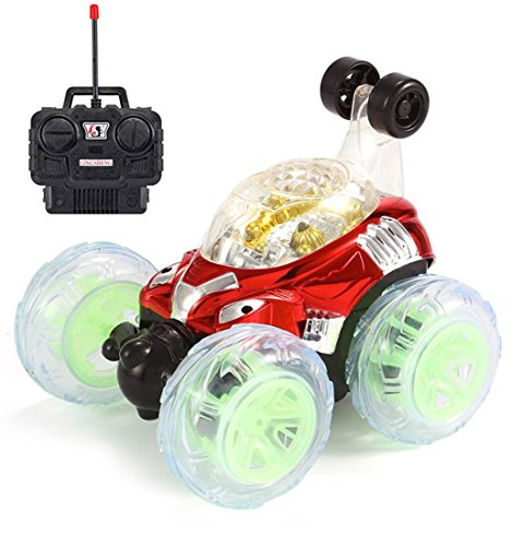 RC Rolling Stunt Car, Invincible Tornado Twister | 360 Degree Remote Control Truck Spinning and Flips with Color Flash & Music for Kids