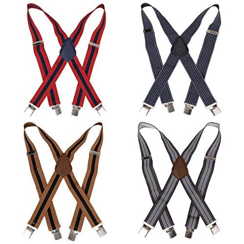Bundle Monster 4pc Dark Stripe Pattern X-Back Adjustable Clip Unisex Suspender -