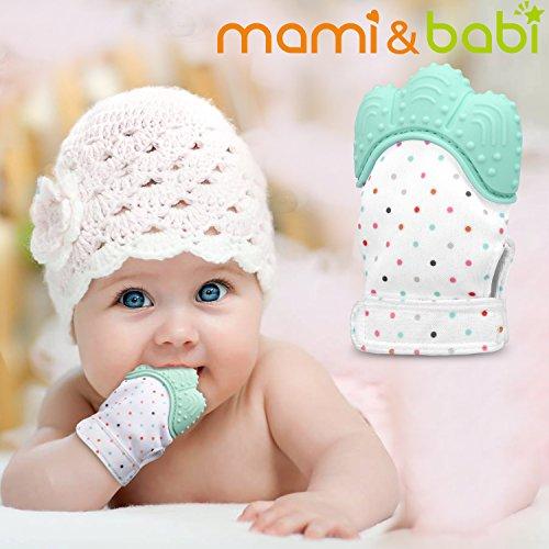 Baby Teething Mitten, Mami&babi Teether for Baby Self-soothing Pain Relief, BPA Free & Food Grade Teething Glove (Green)
