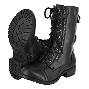 Top Moda Women's Pack-72 Lace Up Combat Boot,6 B(M) US,Black
