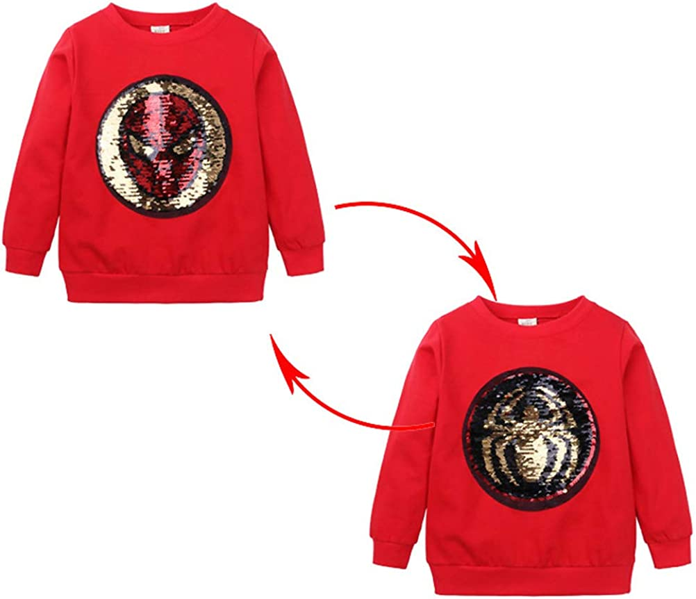 AsKong Boys Girls Long Sleeve Round Neck Tops Cartoon T-Shirt Sequin Flip Magic Sequin Pattern Spider-Man Captain America Sweatshirt Clothing for 1-8 Year Old