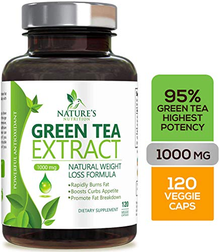 Green Tea Extract 98% with EGCG for Weight Loss 1000mg - Boost Metabolism for Healthy Heart - Antioxidants & Polyphenols for Immune System - Gentle Caffeine - Natural Fat Burner Pills - 120 Capsules (Best Green Tea For Fat Loss)