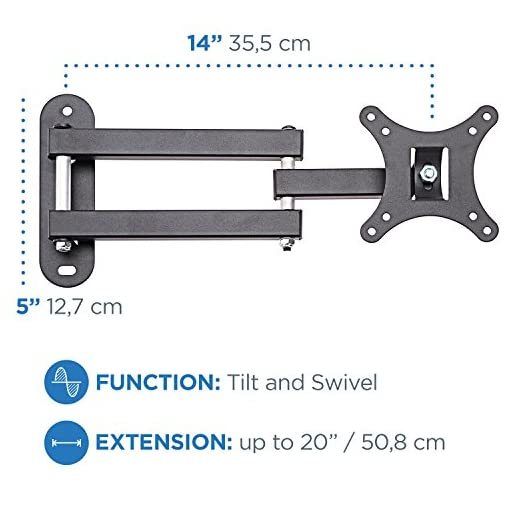 """TV Wall Mount Bracket Full Motion Swivel /& 15/"""" Extension Arm for most 13 to 30in"""