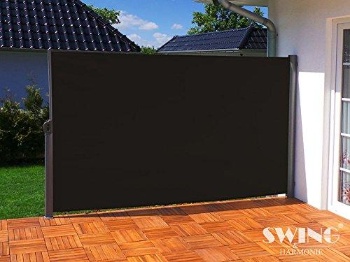 Seitenmarkise Sichtschutz Aluminium Seitenrollo Markise Seitenwand Terasse Balkon (180x300cm, anthrazit)