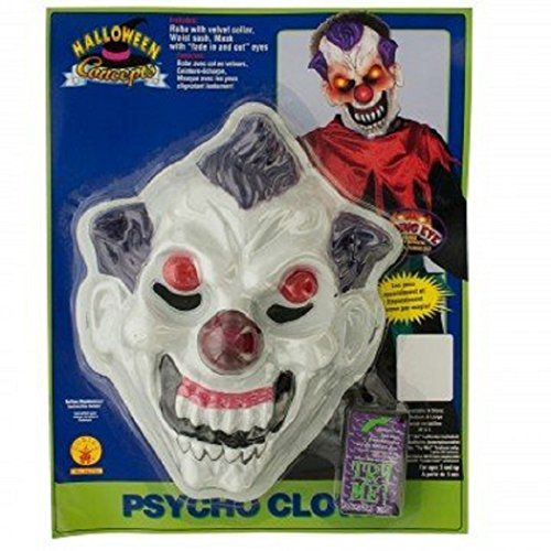 [Psycho Clown Mask with Fading Eye Light Effect] (Red Eye Mask)