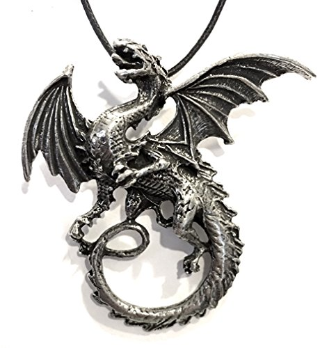 Dragon Breathing Fire Celtic Pewter Pendant Costume Charm - Pendant Breathing Fire Dragon