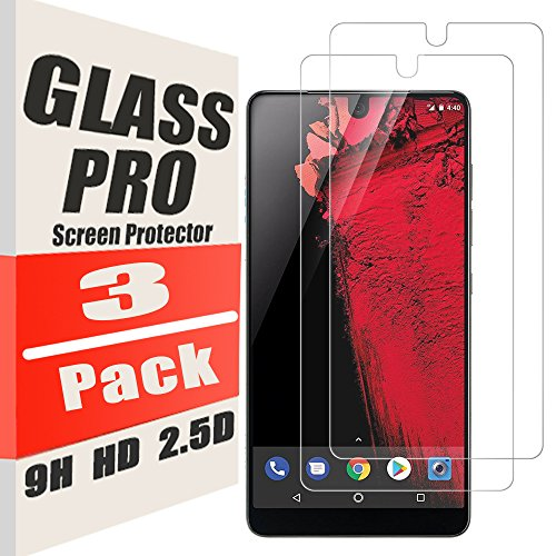 Price comparison product image [3 Pack] Essential Phone Screen Protector (PH-1),Tempered Glass Film [9H Hardness] 2.5D Arc Edges HD Anti-Scratch Bubble-Free for Essential Phone [Lifetime Replacement Warranty] (3 Pack)