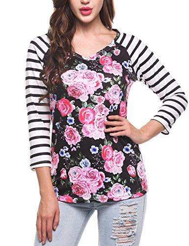 Meaneor Women's V Neck Stripes Printed Floral 3/4 Sleeve Tops T-Shirt Black1 (Stripe Raglan Tee)