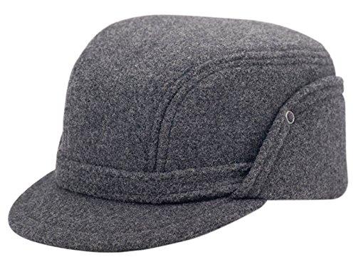Wool Fleece Winter Working Cap with Ear Flap US 7 3/4 Light grey (Xxl Cap Skull)