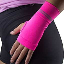 Compression Wrist Support Sleeve - Relieve Carpel Tunnel, Wrist Pain - Best Wrist Support - Improve Circulation and Support Wrist (Single Sleeve) (Neon Pink, S)