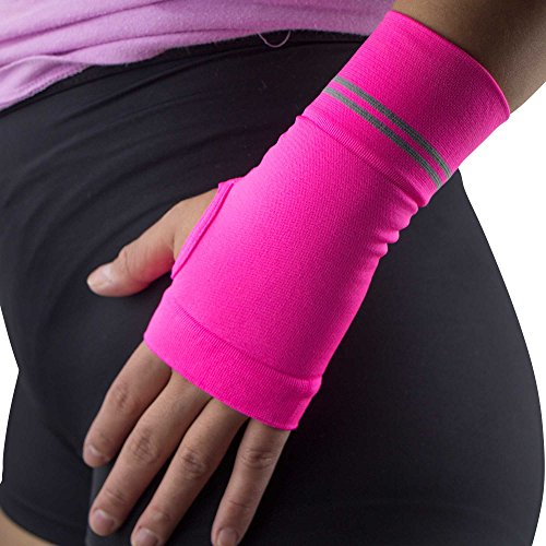 Compression Wrist Support Sleeve - Relieve Carpel Tunnel, Wrist Pain - Best Wrist Support - Improve Circulation and Support Wrist (Single Sleeve) (Neon Pink, M) by Pure Compression
