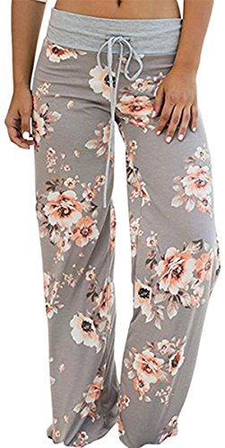 Sexymee Womens Cotton Pajama Pants Wide Leg Sleepwear Casual Loose Lounge PJ Bottoms,Gray 2,Medium ()