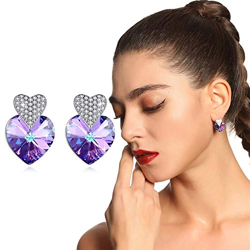 Swarovski Crystals Earrings for Women Girls 925 Sterling Silver Pierced Ear Studs Jewelry Mother Doughter Wife Birthday Festive Present 1 Pair with Gift Box - GUE6 Purple